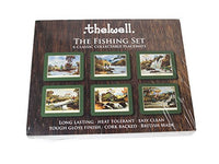 Thelwell Fishing Placemat Set. 6 assorted melamine mats with cork backs, feat...