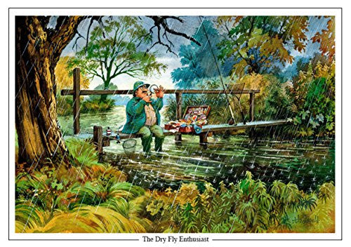 """The Dry Fly Enthusiast"" by Thelwell. Large A5 trout fishing themed greeting card with envelope. Great gift accessory for the fisherman"