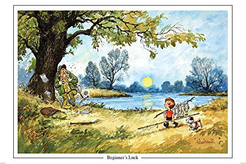 """Beginner's Luck"" by Thelwell. Large A5 fly fishing themed greeting card with envelope. Great gift accessory for the fisherman"