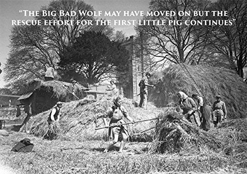 Land girls and farmers on rick with threshing machine at harvest time. Large A5 greeting card. Humorous with funny caption. Blank on the inside perfect for any occasion. Ideal for people who like farming, bygone days, the countryside, vintage photographs.