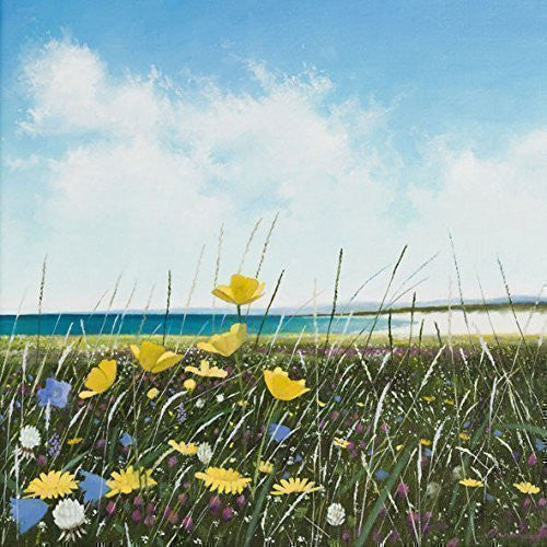 """Across the Machair"" art landscape greeting card by Heather Blanchard. Painting of wildflowers with sea and beach in background. Printed on high quality textured art paper. Blank on the inside for all occasions with white envelope included."