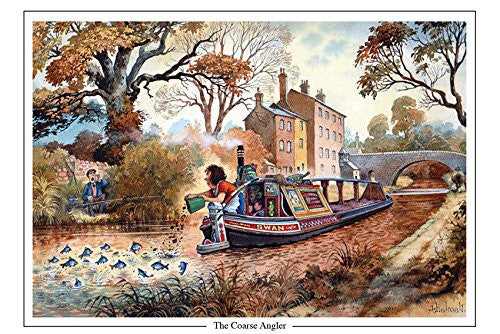 coarse angling, canal and barge boat cartoon by Thelwell