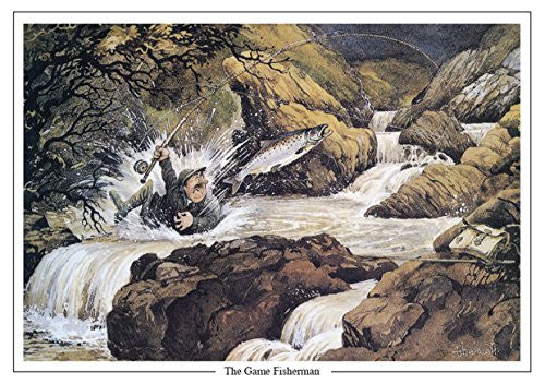 salmon fishing cartoon greeting card Thelwell