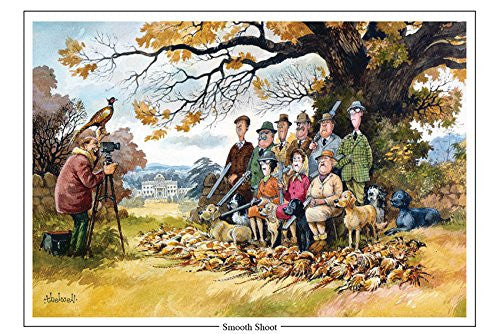 smooth shoot shooting or hunting cartoon greeting card by Thelwell