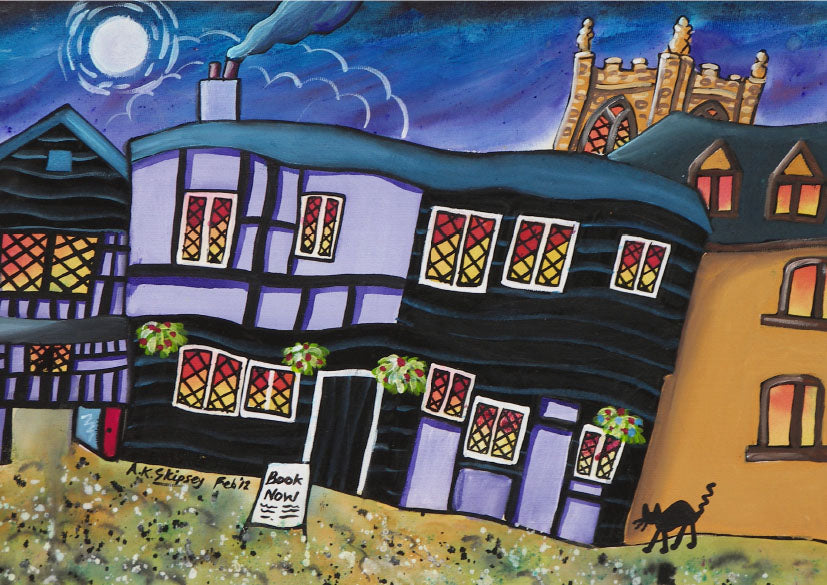 Welsh Borders Greeting Card. A bed for the night, Ludlow