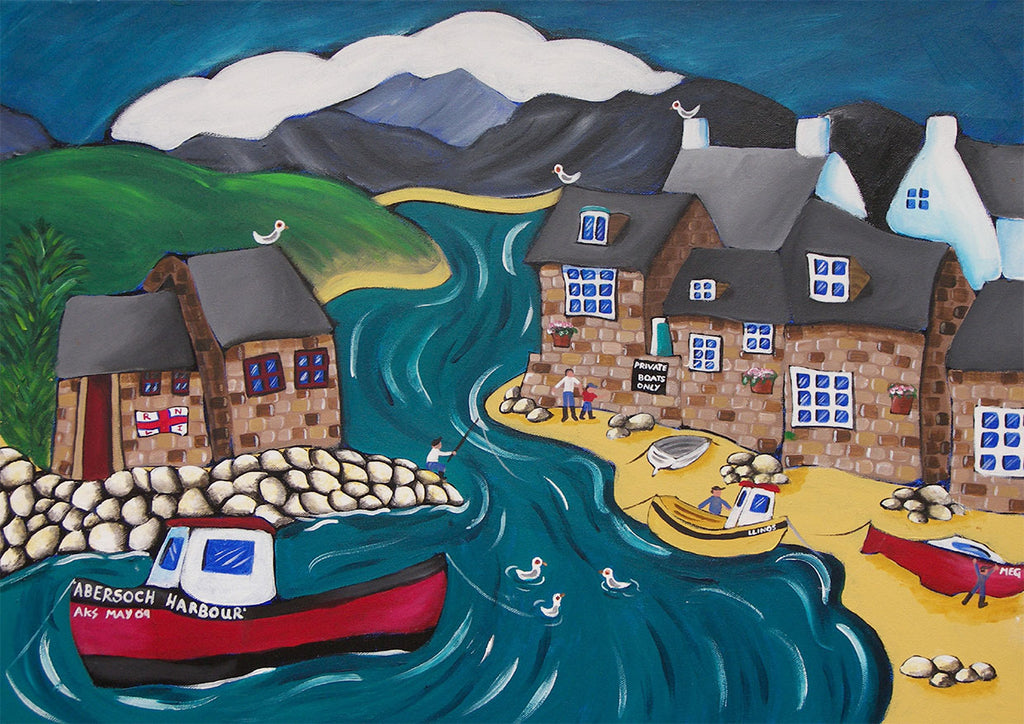 Welsh Seaside Greeting Card. Abersoch Harbour