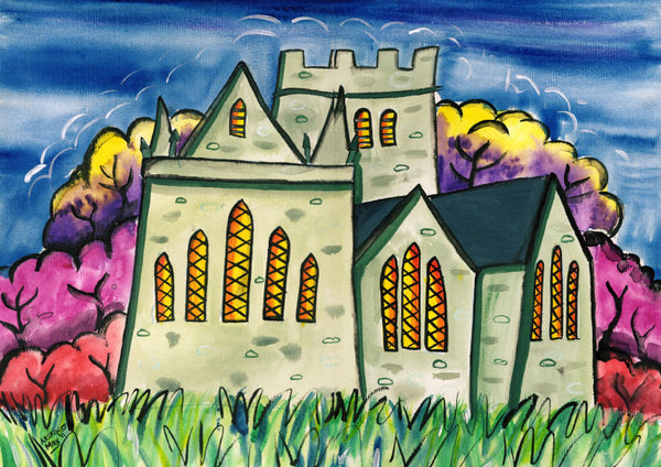 Brecon Cathedral Welsh Borders Greeting Card.