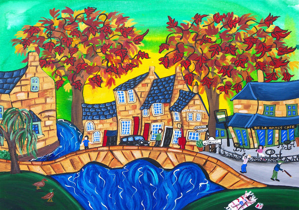 Boughton-on-the-water Greeting Card by Amanda Skipsey. Classic Cotswolds