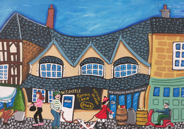 Cotswolds Greeting Card. Burford Shops by AK Skipsey