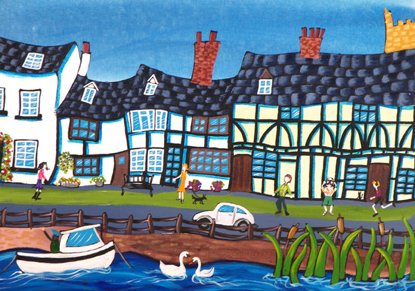 Cotswolds Greeting Card. An Afternoon in Tewkesbury by AK Skipsey