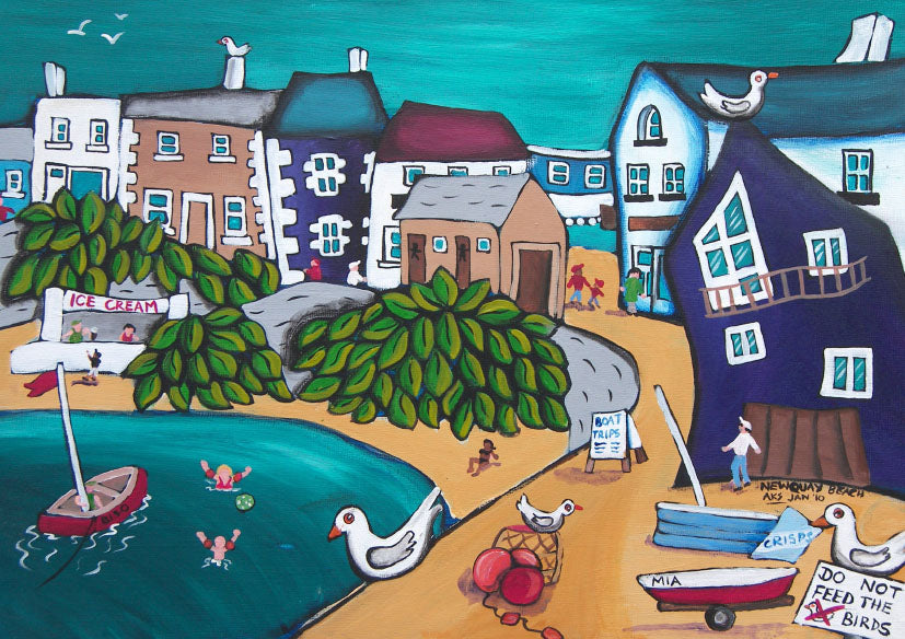 Welsh Seaside Greeting Card. Newquay Beach