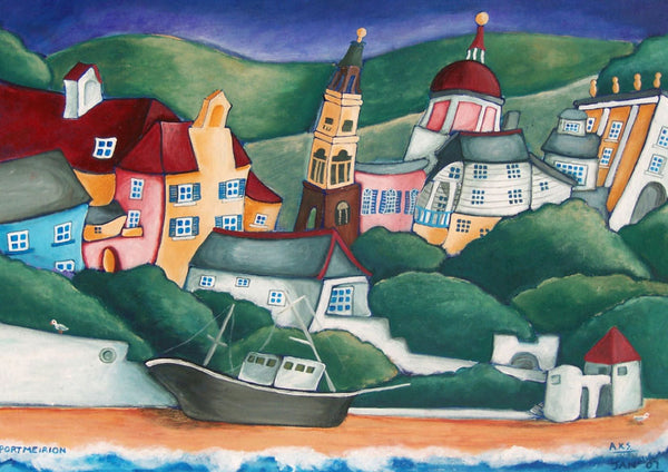 Welsh Fishing Village Greeting Card. Portmeirion