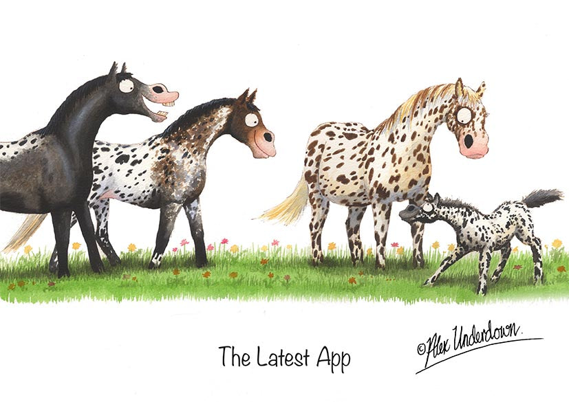 "Horse greeting card ""The Latest App"" by Alex Underdown."