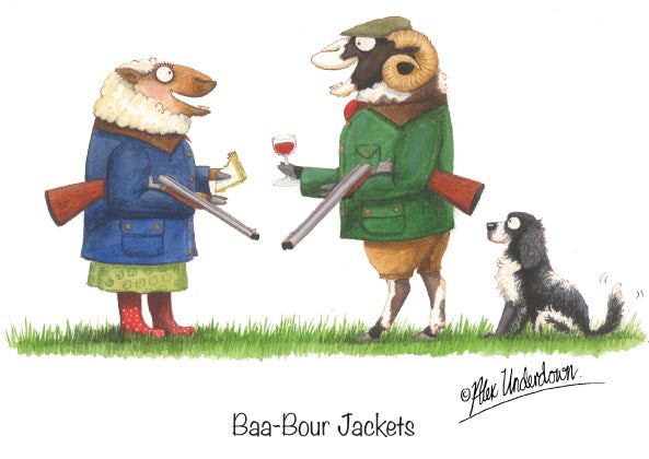 "Sheep shooting greeting card ""Baa-Bour Jackets"" by Alex Underdown."