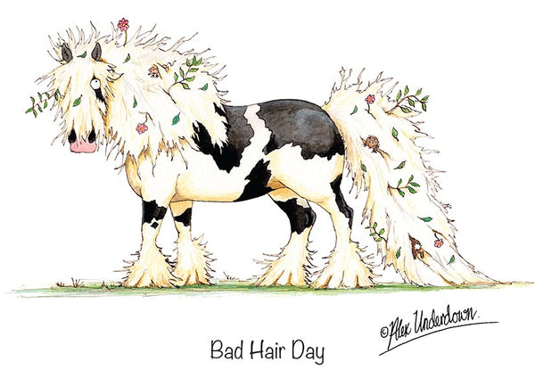 "Horse greeting card ""Bad Hair Day"" by Alex Underdown."