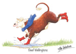 "Hereford cow greeting card ""Beef Wellingtons"" by Alex Underdown."