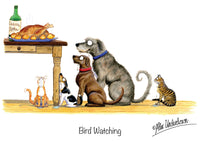 "Dog and Cat greeting card ""Bird Watching"" by Alex Underdown."