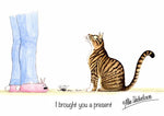 "Cat greeting card ""I brought you a present"" by Alex Underdown."
