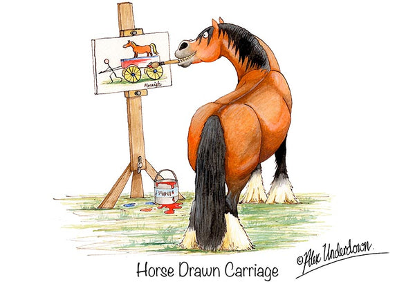 "Horse greeting card ""Horse Drawn Carriage"" by Alex Underdown."