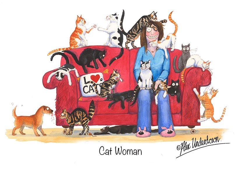 "Cat greeting card ""Cat Woman"" by Alex Underdown."