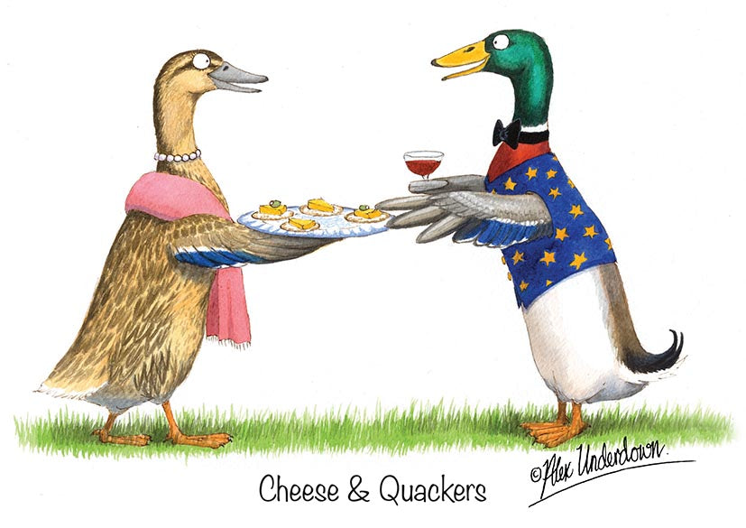 "Duck greeting card ""Cheese and Quackers"" by Alex Underdown."