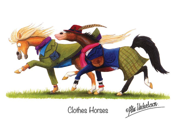 "Horse greeting card ""Clothes Horses"" by Alex Underdown."