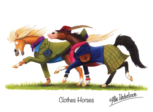 Clothes Horses cartoon greeting card by Alex Underdown