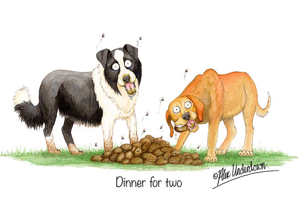 "Dog greeting card ""Dinner for two"" by Alex Underdown."