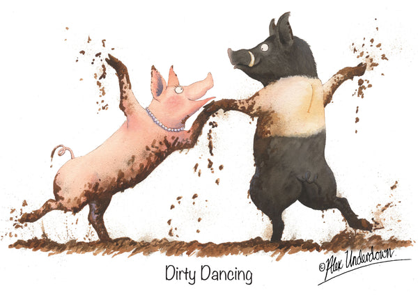 "Pig greeting card ""Dirty Dancing"" by Alex Underdown."