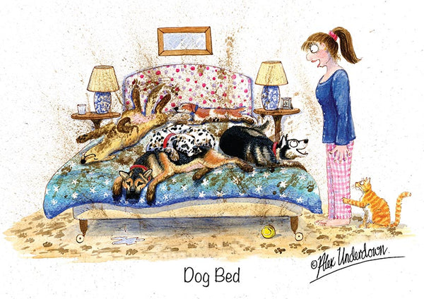 "Dog greeting card ""Dog Bed"" by Alex Underdown."