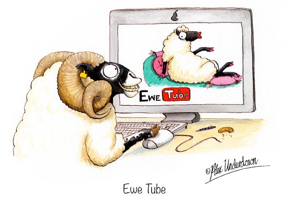 "Sheep greeting card ""Ewe Tube"" by Alex Underdown."