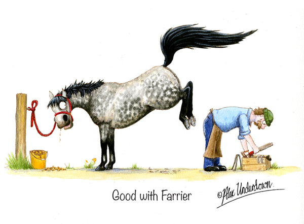 Good with Vet cartoon greeting card by Alex Underdown