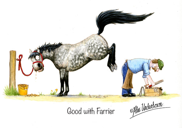 "Horse greeting card ""Good with Farrier"" by Alex Underdown."