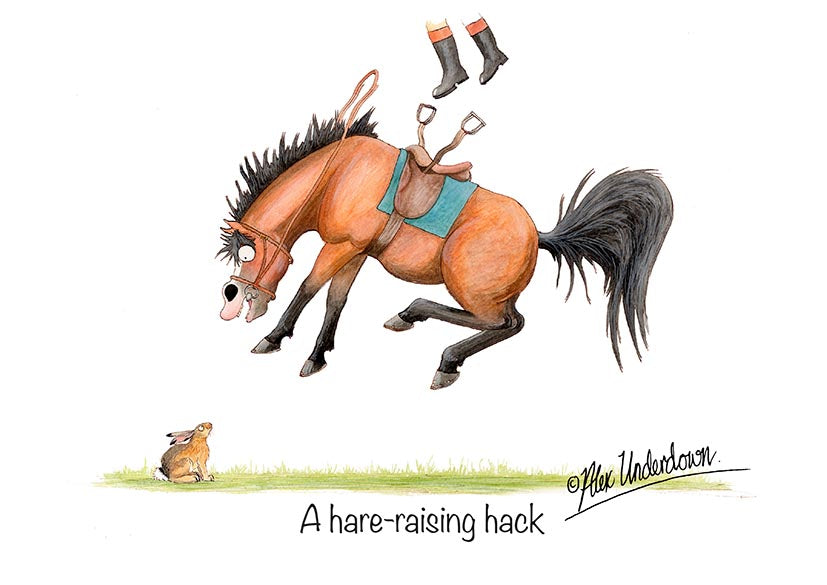"Horse greeting card ""A hare-raising hack"" by Alex Underdown."