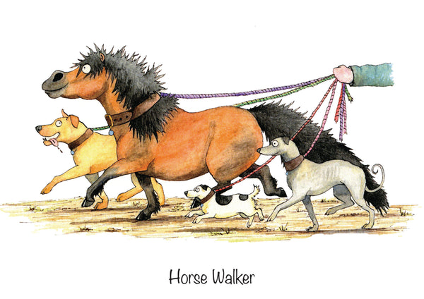 """Horse Walker"" funny horse greeting card by Alex Underdown."