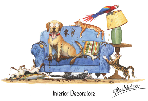 "Cat and Dog greeting card ""Interior Decorators"" by Alex Underdown."