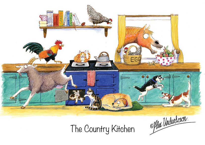 "Farm and Pet greeting card ""The Country Kitchen"" by Alex Underdown."