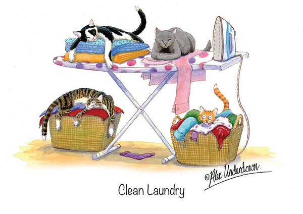"Cat greeting card ""Clean Laundry"" by Alex Underdown."