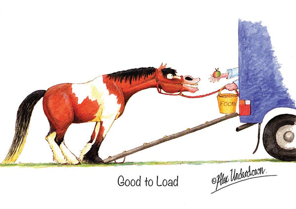 "Horse greeting card ""Good to load"" by Alex Underdown."