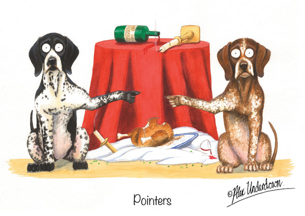 "Pointer dog greeting card ""Pointers"" by Alex Underdown."