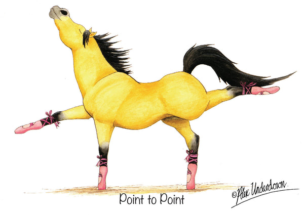 """Point To Point"" funny horse greeting card by Alex Underdown."