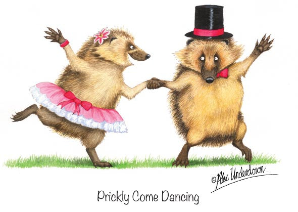 "Hedgehog greeting card ""Prickly Come Dancing"" by Alex Underdown."