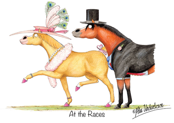 At the races horse cartoon greeting card by Alex Underdown