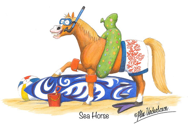 "Horse greeting card ""Sea Horse"" by Alex Underdown."