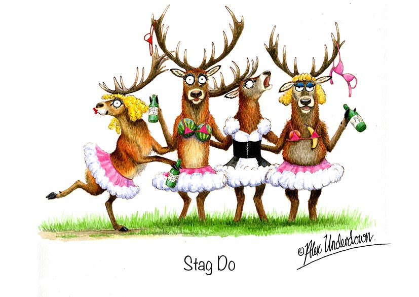 "Deer greeting card ""Stag Do"" by Alex Underdown."