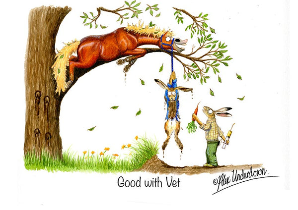 "Horse greeting card ""Good with vet"" by Alex Underdown."