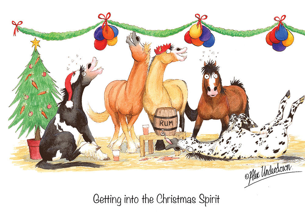 Christmas Horse Pictures.8 X Horse Hound And Farm Animal Christmas Cards By Alex Underdown