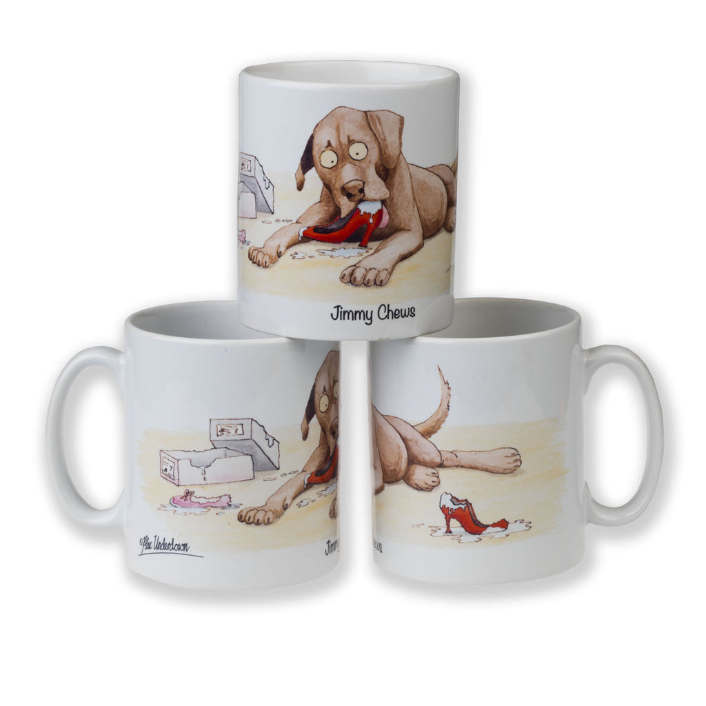 "Copy of ""Jimmy Chews"" funny dog mug by Alex Underdown"