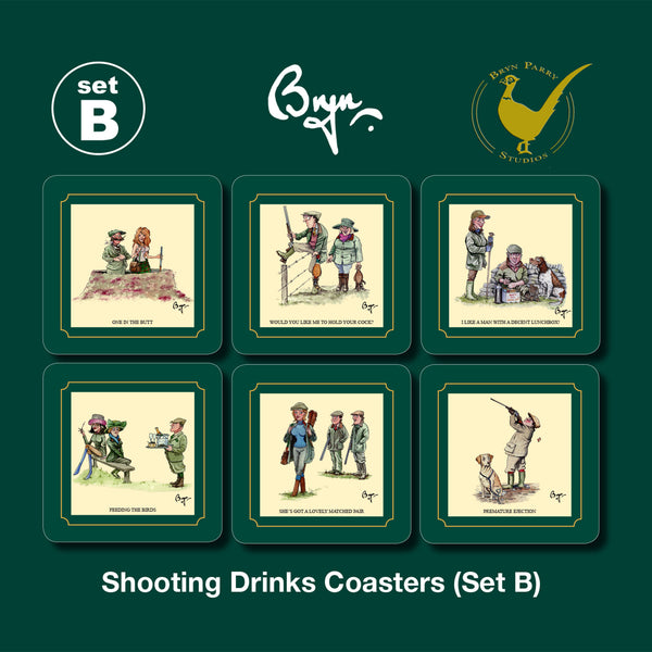 Copy of 6 Shooting Coasters Set B. Sex in the Country by Bryn Parry