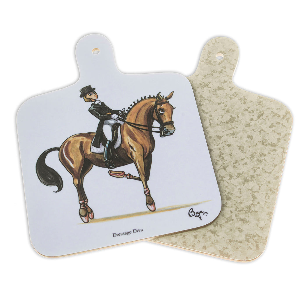Mini Chopping Board. Dressage Diva by Bryn Parry. Horse gift idea